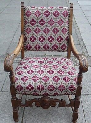 Antique Carved Oak Green Man Carver Chair, Armchair, Needlepoint Upholstery