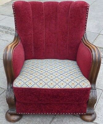 Superb Antique Heavily Carved Oak Armchair With Original Needlepoint Upholstery