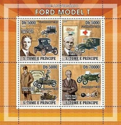 SAO TOME HENRY FORD CARS AUTOMOBILES RED CROSS S/S MNH C8 ST8123A s