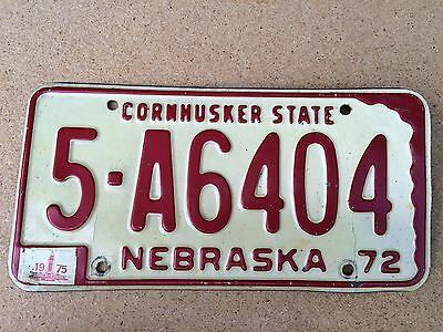 1972 Base Nebraska License Plate - 1975 Tag - 5 - A6404