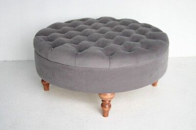 Round Pouf Ottoman Footstool Chesterfield Deep Buttoned