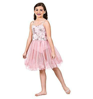 Dance Costume Large Child Pink Glitter Lyrical Solo Competition Pageant Glitz