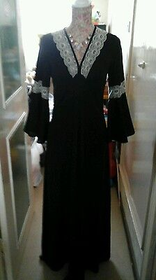 LADIES VINTAGE 70s BLACK EVENING DRESS BELL SLEEVES LACE DETAIL SIZE 12/14