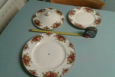 ROYAL ALBERT OLD COUNTRY ROSES cake stand base,plate,dish lid.