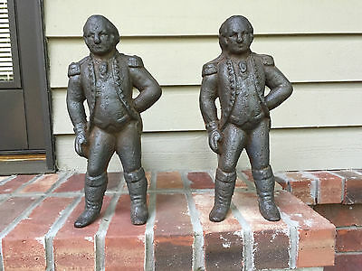 "Antique Cast Iron ""George Washington"" Andirons and Firedogs"