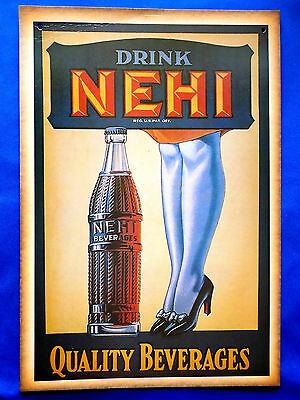 """NEHI BEVERAGES REPRO LITHO TRADE ADVERT CARD 14.5"""" x 10"""" ~ EXCELLENT"""