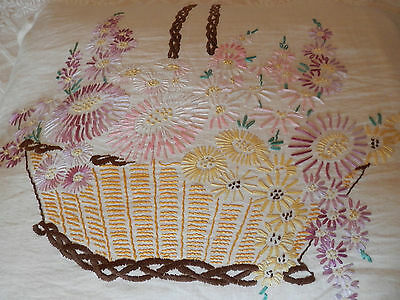 Vintage cushion hand stitch embroidery, 63 by 50 cm