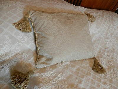 Vintage damask cushion with feather pad, 44 cm by 35 cm