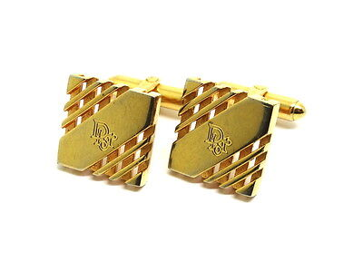 Mens Vintage Signed CHRISTIAN DIOR Gold Toned Square Bar style Cufflinks