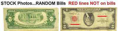 1953    $2 Two Dollar US Note Bill Red Seal   lot of 1