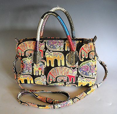 Laurel Burch Tapestry Purse Bag with Handles and Shoulder Straps