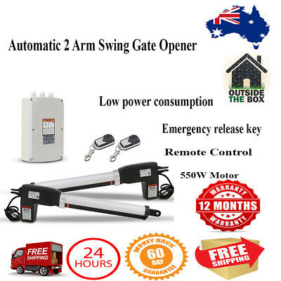 Automatic 2 Arm Swing Gate Opener Electric Kit 2 x Remote Controls 500kgs New