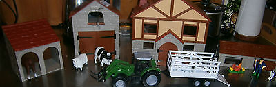 Toy Farm  Buildings  Withh Tractor And Trailer