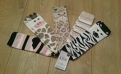 Bnwt girls Marks & Spencer 5 pairs of cotton rich animal  socks