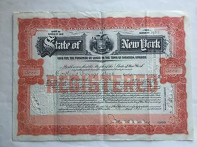1912 NY State $5,000 Bond for the Purchase of Lands in Saratoga Springs Rare
