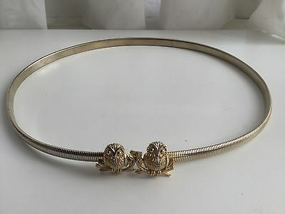 """Vintage Skinny Gold Toned Snake Belt With Double Owl Head, 30"""" wo Stretch"""