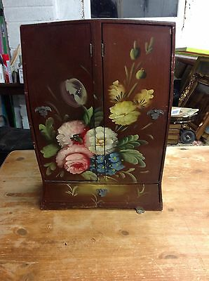 Vintage Old Wooden Jewellery Box Cabinet - Floral Hand Painted - VGC