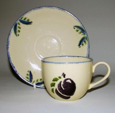 Poole Pottery Dorset Fruit Plum Pattern Cup and Saucer