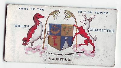 Wills's Card - Arms of The British Empire c1910 - No 10 - Mauritius - Used