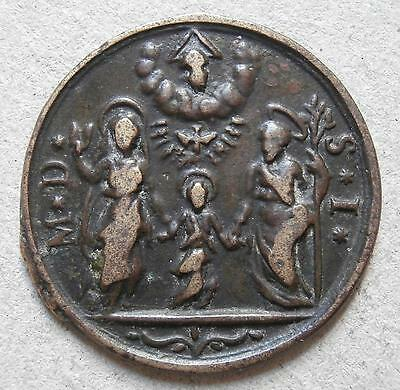 "Religious medallion - Unknown medieval ""MD SI SA SM"" - Saint Andrew / Mark? 27mm"