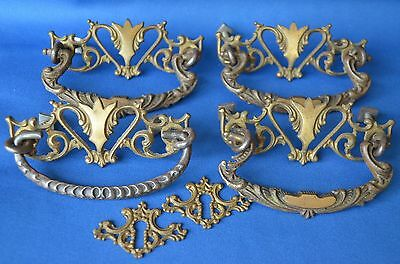 "Antique Dresser~Desk Drawer Pull Set~Hardware~2 Key Plate~Ornate Brass~3"" Center"