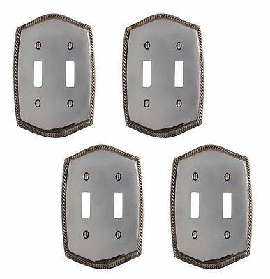 4 Switchplate Chrome 5 1/4 H Braided Double Toggle | Renovators Supply
