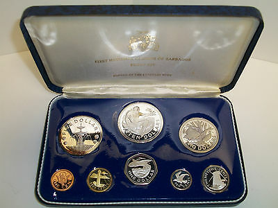 1973 Barbados Proof Set 8 Coins Silver w/ COA