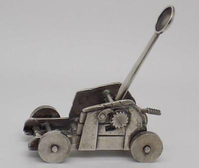 Vintage Solid Silver RARE WORKING Antique Catapult Miniature - Stamped - Italian