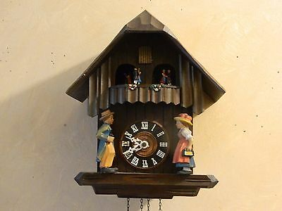 Vintage H/ Crafted Black Forest German Cukoo Clock With Round Balcony & Dancers