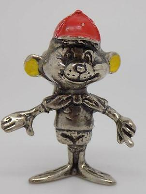 Vintage Solid Silver RARE Old Cartoon Mouse Miniature - Stamped - Made in Italy
