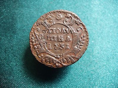 Copper Coin Polushka 1731. Anna Ioanovna (1730-1740) Russian Empire!