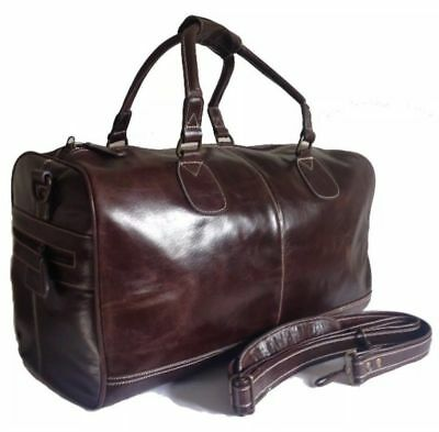 HOLDALL BROWN Large CLASSIC Weekend Duffle Travel Gym Genuine LUXURY Leather Bag