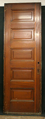 "30.5""x89"" Antique 3"" THICK Pine Wood Wooden Interior Pocket Sliding Door 5 Panel"