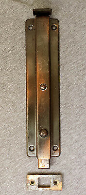 "8"" Vintage Spring Loaded Steel Metal Door Stopper Holder Floor Slide Lock Bolt"