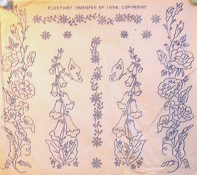 Vintage  Embroidery Transfer - Foxgloves & Morning Glory