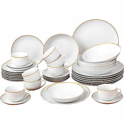 40 Piece China Porcelain Dinnerware Set Gold Dinner Kitchen Service Dining Sets