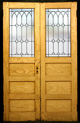 "51""x82 RESTORED Antique Double Entry Exterior Wood Door Leaded Glass Lite Window"