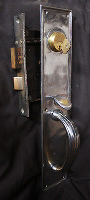"Antique Chrome Bronze Exterior Entry Door Lockset Set 15"" Pull Handle Lock +Key"