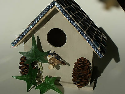 Stained Glass Mosaic Glass Bird House Real Pine Cones & Glass on Wooden Frame