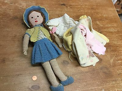 Old Antique Soft Toy Doll & Various Clothes - VGC
