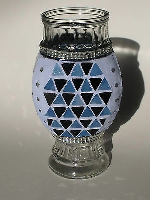 Stained Glass Mosaic Vase Black & Blue Glass Bling Mosaic ONE OF A KIND