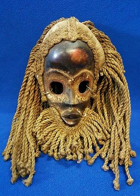 Primitive Antique African Nigeria Ibo Mask with Rope Hair & Beard