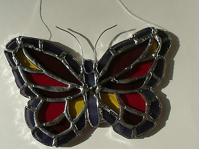 """Stained Glass Window Sun Catcher Butterfly Purple, Red, Yellow, Violet 6 x 4"""""""