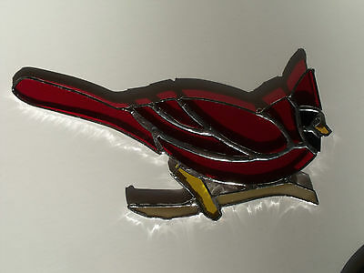 """Stained Glass Window Sun Catcher Christmas Red Cardinal 8.5 x 4"""""""""""