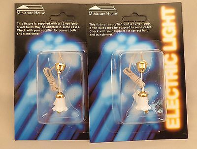 Dollhouse Miniature House Tulip Hanging Lamp Light 12v 1:12 Lot of 2
