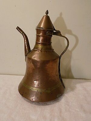 Antique Vintage Hand Hammered Copper Islamic Middle Eastern Dallah Coffee Pot