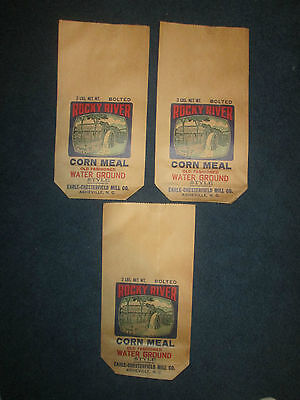 Lot of 3 1960 Vintage Rocky River Corn Meal Bags-Earle-Chesterfield Mill Co.