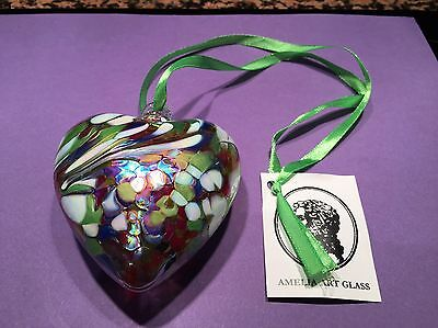 Art Glass Friendship Birthstone Hanging Heart Opal October Birthday GIFT BOXED