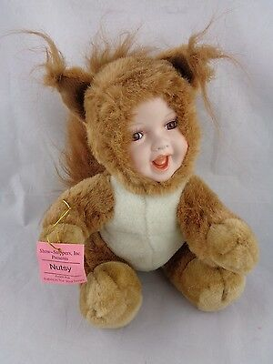 Show-Stoppers Babes The Wild Porcelain Face Plush Doll Animals NUTSY Squirrel