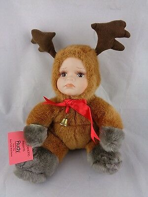 Show-Stoppers Babes The Wild Porcelain Face Plush Doll Animals RUDY Reindeer